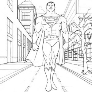 Superman Walking Metropolis Coloring Page