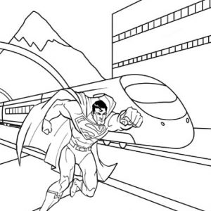 Superman with Train Background Coloring Page from Bedu