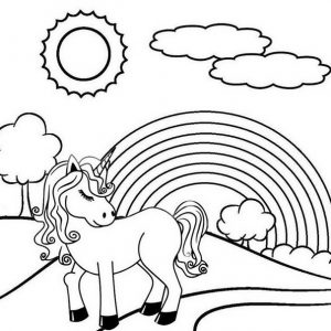 Unicorn Garden Rainbow Coloring Page