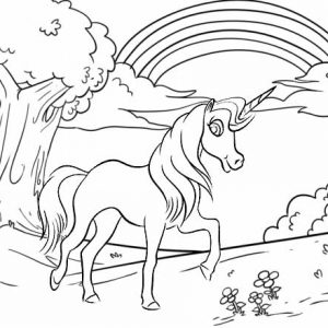 Unicorn Walking in the Magical Forest Coloring Page
