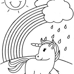 Unicorn exposed to rain water coloring sheet