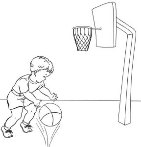 A Boy Playing Basketball Coloring Page