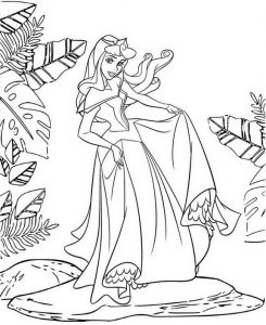 Adorable Princess Aurora Coloring Page of Disney