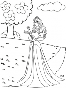 Aurora Holding a Rose in the Garden Coloring Page