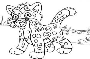 Baby Jaguar Coloring Page for Kids