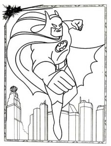 Batman Coloring Page Flying Across Skyscraper