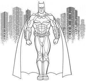 Batman with skyscraper background coloring page