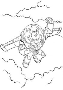 Buzz Lightyear Flying Coloring Page of Toy Story