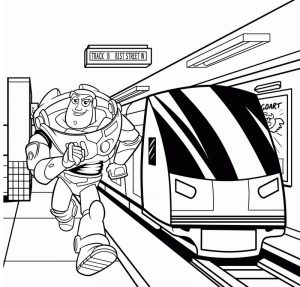 Buzz Lightyear in the station coloring page of Toy Story