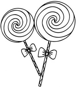 Candy and Lollipop Coloring Page of Food