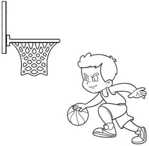 Cartoon Basketball Playerl Coloring Page