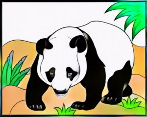 Coloring Work of Panda from Cindy