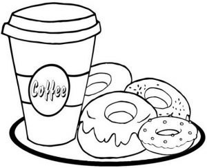 Donut Coloring Page of Food