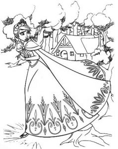 Elsa in Gown Coloring Frozen Page for Kid