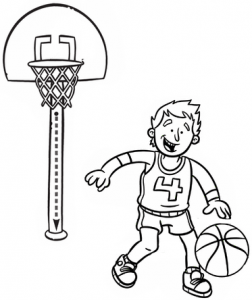 Fun Child Basketball Coloring Page