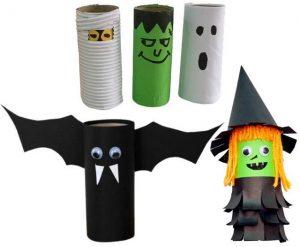 Halloween Toilet Paper Roll Craft Witch Bat mummy Ghost