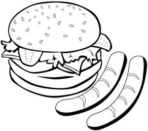 Hamburger Coloring Page of Food