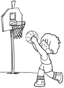 Happy Basketball Coloring Page