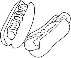 Hotdog Coloring Page of Food