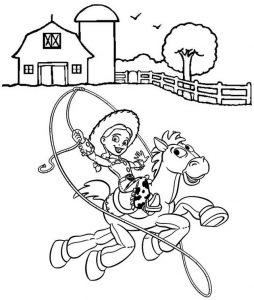 Jessie riding Bullseye Coloring Sheet of Toy Story