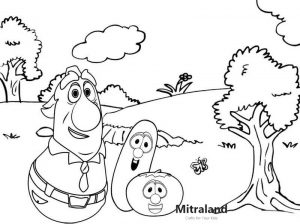 King George Mr Nezzer and Larry and Bob in the garden Coloring Page of Veggietales