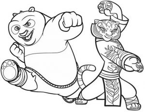 Kung Fu Panda and Tigress Coloring Page