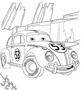 Luigi Coloring Page of Lightning McQueen