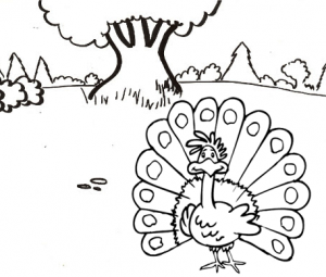 Mammy Peacock Cartoon Coloring Sheet