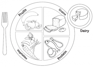 Myplate Menu Coloring Page of Food