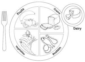 Myplate Menu Coloring Page of Food