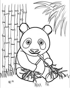 Panda Leans Against a Tree Coloring Sheet