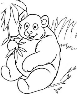 Panda Peels the Bamboo Coloring Sheet