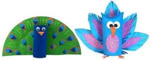 Peacock Toilet Paper Roll and Paper Plate Craft