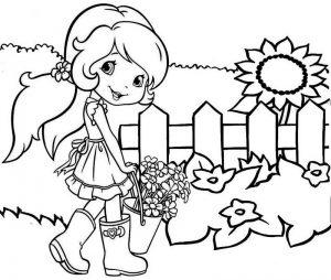 Plum Pudding Gardening Coloring Strawberry Shortcake Sheet for Kid