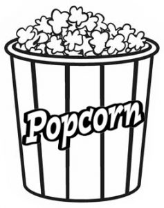 Popcorn Coloring Page - Popcorn Drawing Clipart (#3373238) - PinClipart | 300x237