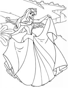 Princess Aurora Dancing Coloring Page