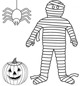 Scary Spider Pumpkin and Mummy Halloween Coloring Sheet