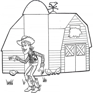 Sheriff Woody and Barn Toy Story Coloring Page for Fans