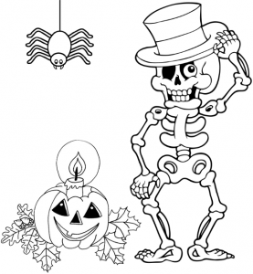 Skeleton Halloween Pumpkin and Spider Coloring Page