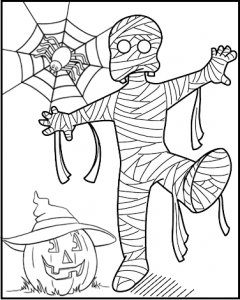 Spooky Mummy Pumpkin and Spider Halloween Coloring Sheet