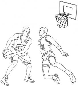 Stephen Curry Coloring Page of Baskeball