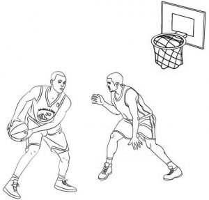 Stephen Curry with ball handling skills coloring page of NBA