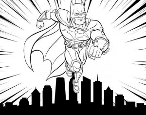 Strong Batman with Building Offices Background Coloring Page of Superhero