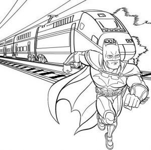 Stunning Batman Running with Train Coloring Page