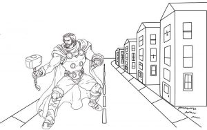 Thor Marvel Avengers Coloring Page for Boys