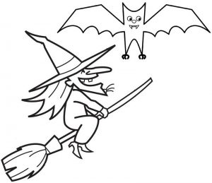 Witch and Bat Coloring Page of Halloween