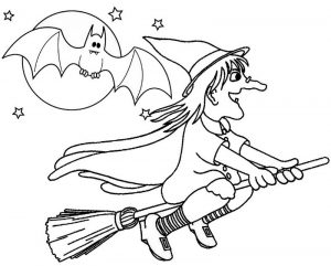 Witch flying across moon coloring page of Halloween
