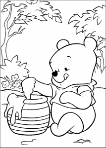 Baby Winnie the Pooh Eating Honey Coloring Sheet