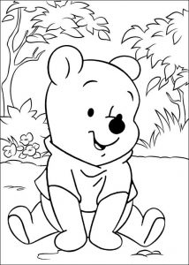 Baby Winnie the Pooh Sitting Coloring Disney Sheet