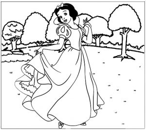 Beautiful Princess Snow White in the Garden Coloring Disney Page